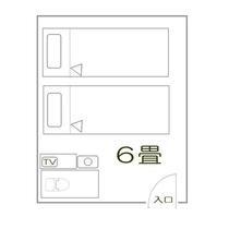「少し狭い洋室ツイン(トイレ付)」見取り図
