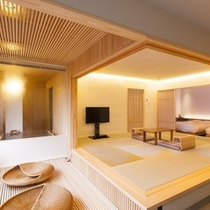 天然檜風呂付きモダン和洋室の「葵」