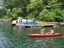 桧原湖でカヌー!