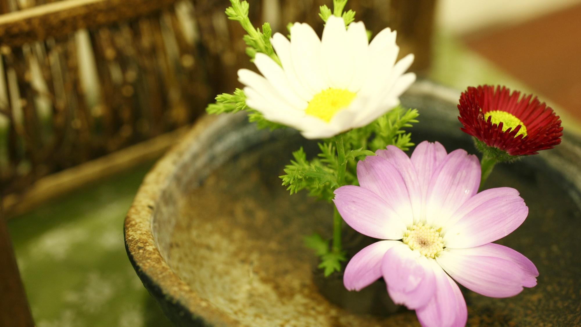 季節のお花をスタッフが心を込めて活けております♪