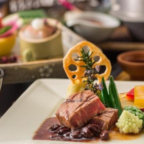【里のいろり創作会席料理】柔らか牛肉ステーキ