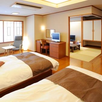 【禁煙】50平米・和洋室(ツインベッド+和室6畳)雪ほたる