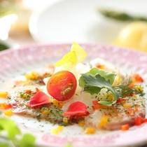 夏の膳【和洋創作コース】白身魚のカルパッチョガーデニング風