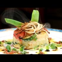 【夕食一例】白身魚とホタテのタンバル