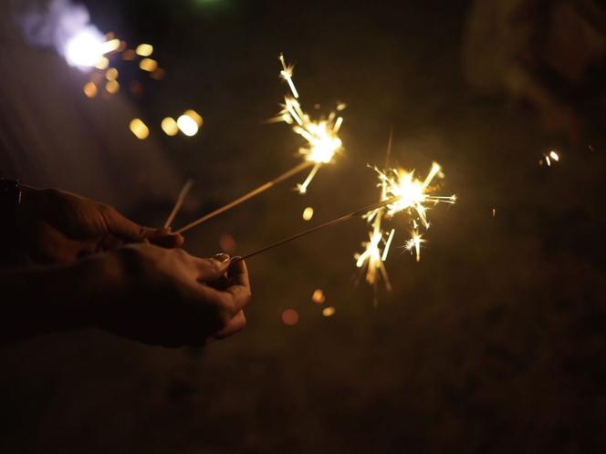 暗闇の静けさに花火が映える