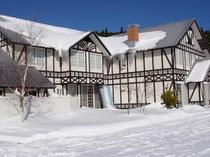 雪の中の裏庭
