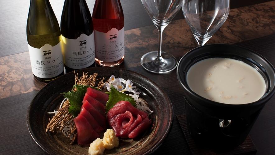 夕食一例【カップルプラン】鹿刺しか引きゆば鍋のどちらかお選びいただけます!