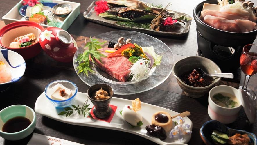 旬の創作料理とゆばに舌鼓!メインに美味しいお肉で旅を満喫