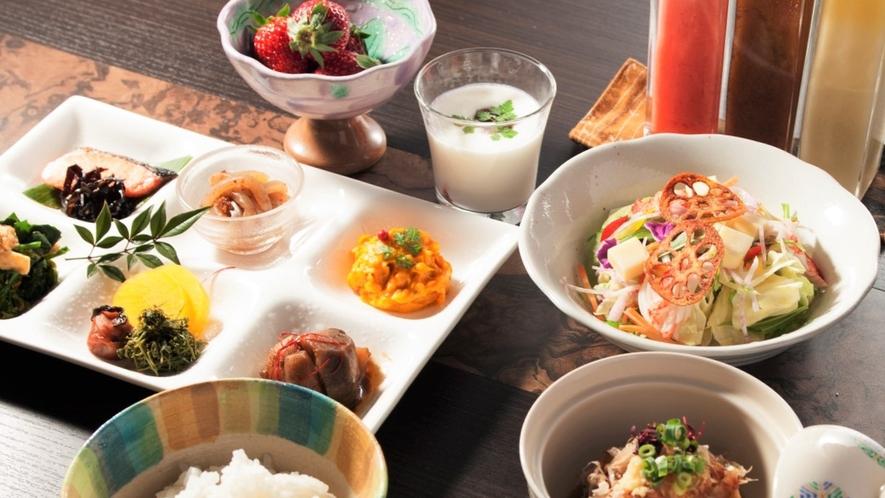 ◆【ご朝食一例】朝一番の活力になる健康を重視した栄養バランスのいい品々を中心にご用意。