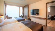 【湖&夕日側】リゾートスイート/リビングとベッドルームからなる広々リゾートスイート(イメージ)