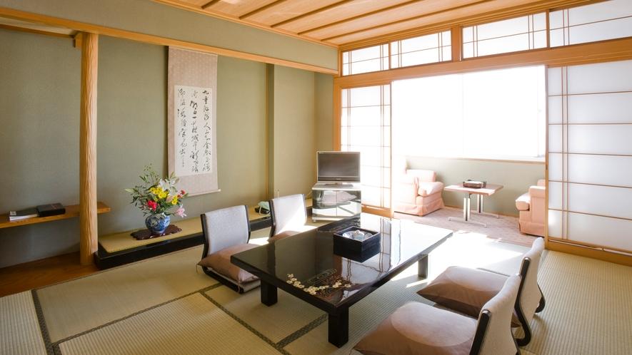 ◆【特別室 10畳+ツイン】昭和天皇、皇后両陛下にお泊りいただいた、絶景の三河湾を望む特別室。