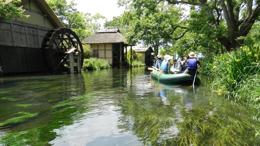 *クリアボートで水上散歩/湧水の清流でクリアボートに乗って水上散歩