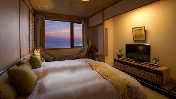 【夕月】美しい海を望むキングサイズベッド和洋室・新展望風呂付