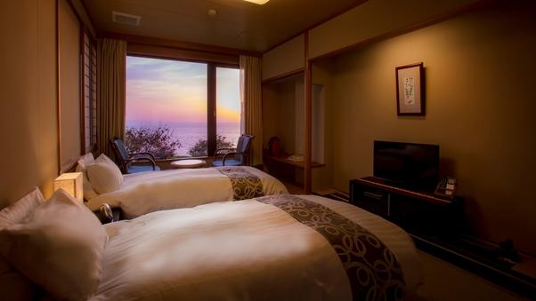 【潮亭】海と空・見とれてしまう絶景と会えるツインベッドの部屋
