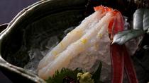 【カニ刺し】甘い活ガニの刺身。至福のカニ三昧はまずカニ本来の美味を味わうカニ刺しから♪