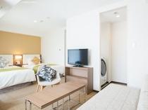 【客室】ツインB(広さ29㎡、ベッド幅103㎝×2台、洗濯乾燥機付き、電子レンジ、ミニキッチン付き)