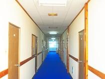 【廊下】爽やかな青い絨毯が広がります