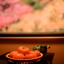 真っ赤なもみじ。美味しいそうな柿。秋の風景。