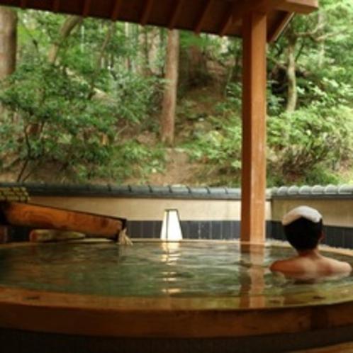 男風呂からは庭園と、山の緑。おし迫る緑の生命力に圧倒。