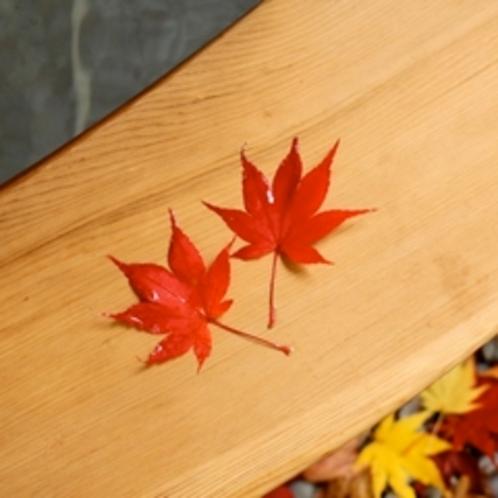 秋の露天風呂。真っ赤なもみじが上からハラハラと、お風呂の中にお邪魔するかも!
