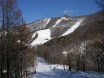 たかつえスキー場 大4ペアリフト終点から山頂コース方面