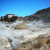 雲仙温泉観光のメイン!白い水蒸気がモクモクと立上る!