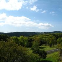 緑がまぶしい園地が広がる
