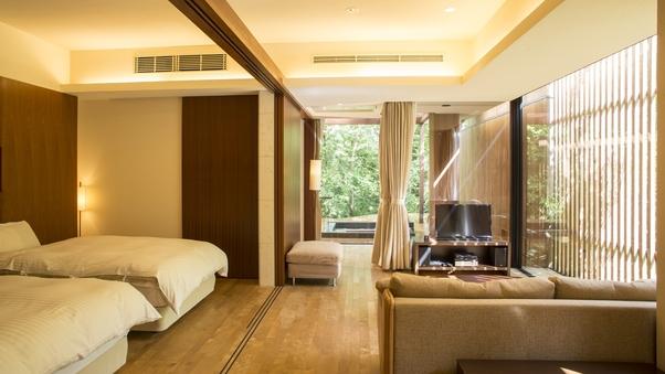温泉露天風呂、ワイドリビング&ベッドルーム