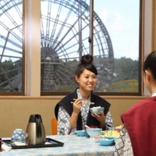 *【お食事(イメージ)】水車を眺めながら、清々しい朝食。