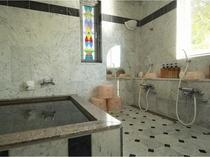 天然大理石風呂はお部屋ごとに貸切で
