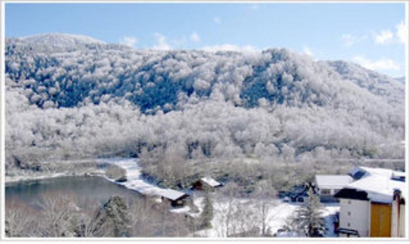 ホテル全景(冬・木戸池と)中