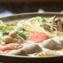 木戸池特製の蕎麦団子みそ鍋です/料理一例