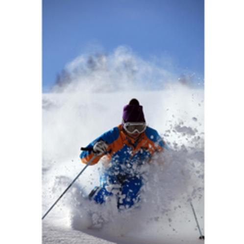 *パウダースノーの中をスキーで楽しむ