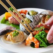【ご夕食/前菜】季節毎に変わる前菜は彩りも◎