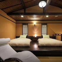 【雪type】開放的な寝室は伊豆の空に大きく開かれ、優しい風を誘います。