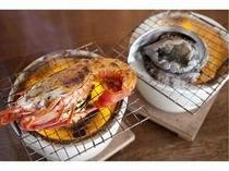 伊勢海老と鮑の焼き物