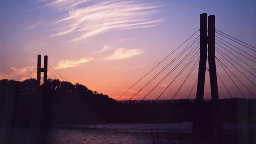 ●北潟湖の夕日