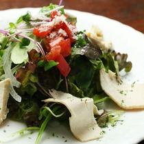 【夕食一例】地元の食材を使ったヘルシーな蒸し鶏のサラダ。