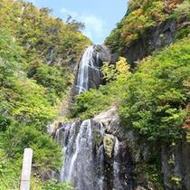 *【周辺】安の滝。上下段の2段に分かれており、日本の滝百選にも選ばれました。