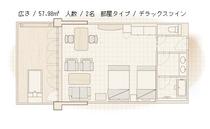 【クラブハウス本館】デラックスツイン平面図