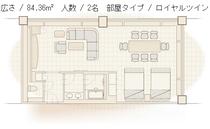 【クラブハウス本館】ロイヤルツイン平面図