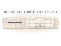 【火水風別館】スタンダードツインルーム平面図