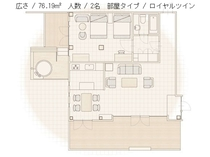 【火水風別館】ロイヤルツインルーム平面図