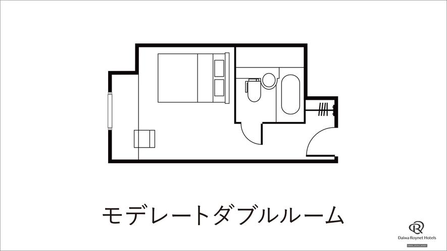 モデレートダブルルーム間取り 【20.8㎡ ベッドサイズ154cm】