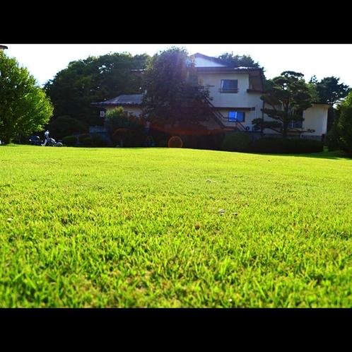 敷地内には芝の広場や庭もございます。お風呂上りや朝の散歩に♪