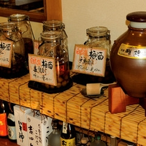 ブランデー、ホワイトリカー、日本酒の原酒、麦焼酎、千鳥酢の梅酒。泡盛43度もございます