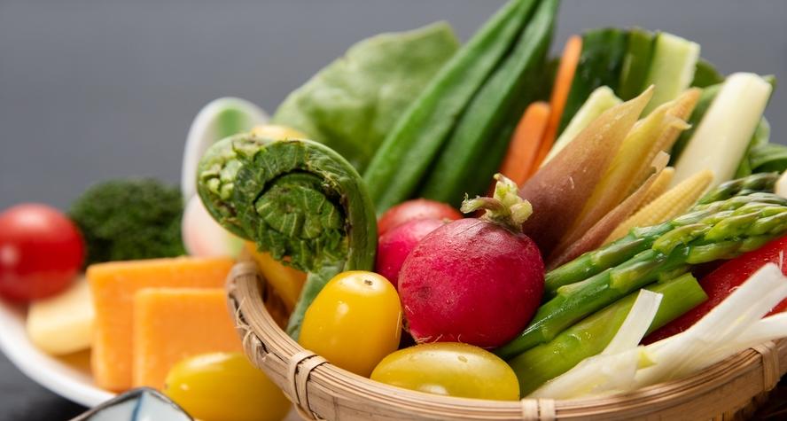 *【夕食一例】地元の契約農家さんから直接仕入れた、高原の季節野菜をご堪能ください。
