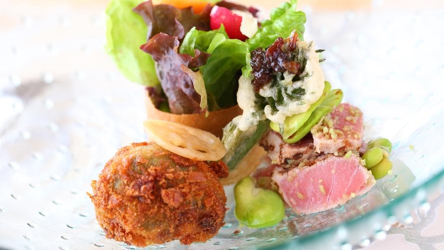 【Rosee・フレンチ】地元産の有機野菜がふんだんに使われています(季節によります)