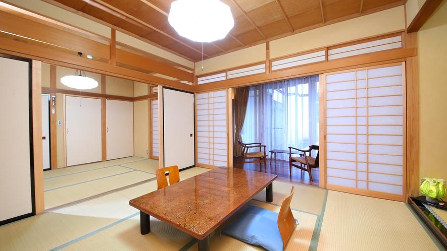 【水芭蕉】一番広く、二間続きのお部屋。ご家族に人気のお部屋です。