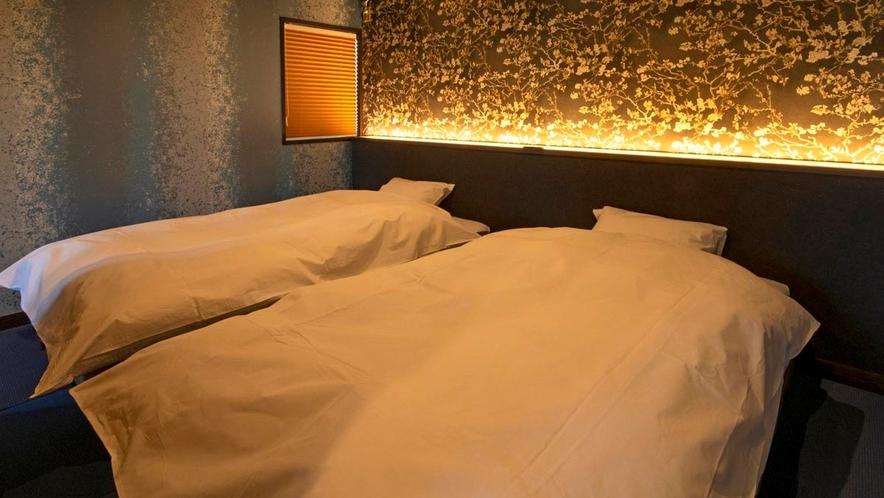 2021年4月リニューアル和洋展望室「音の蔵」和ベッドの寝室